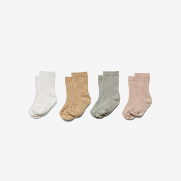 Organic Cotton Baby Socks Set - Ivory/Sage/Rose/Honey
