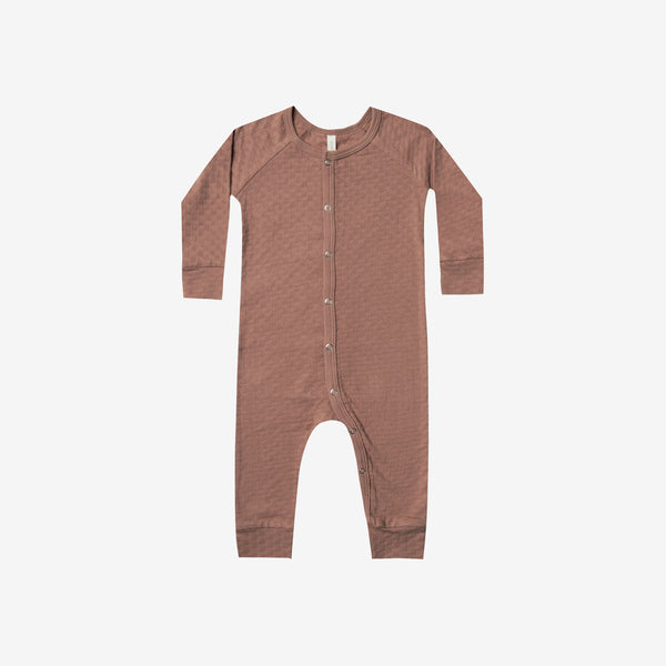 Organic Pointelle Long John Romper - Clay