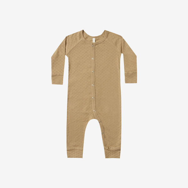Organic Pointelle Long John Romper - Honey