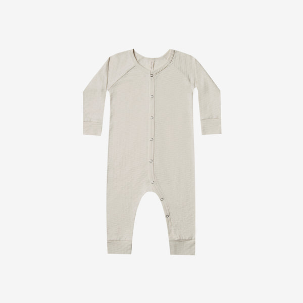Organic Pointelle Long John Romper - Pebble
