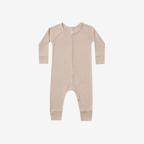 Organic Pointelle Long John Romper - Rose