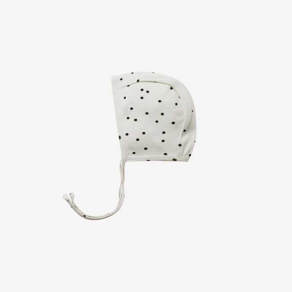 Organic Rib Baby Bonnet - Pebble Dot