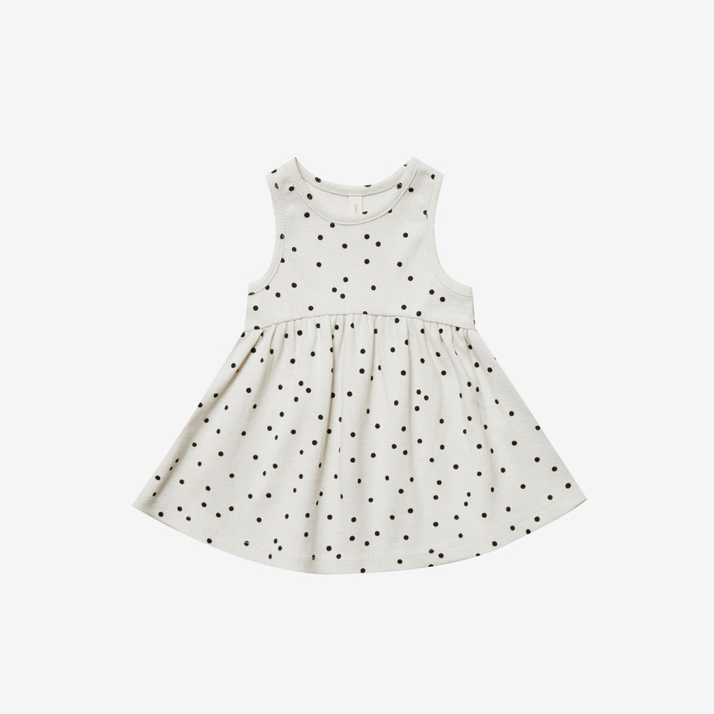 Organic Rib Tank Dress - Pebble Dot
