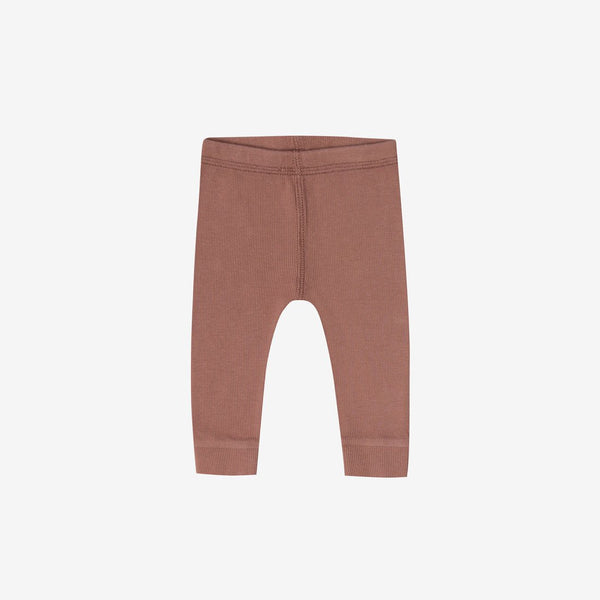 Organic Ribbed Baby Legging - Clay