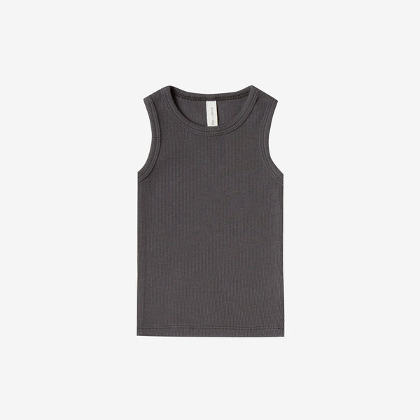 Organic Ribbed Baby Tank - Coal