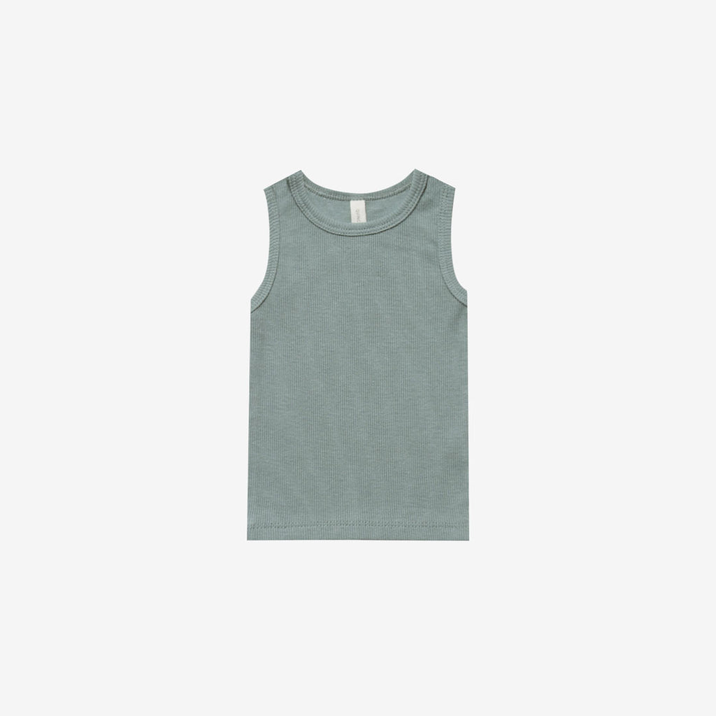 Organic Ribbed Baby Tank - Sea