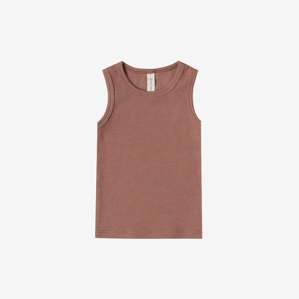 Organic Ribbed Baby Tank - Clay