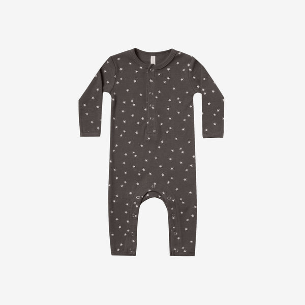 Organic Ribbed Jumpsuit - Coal Star