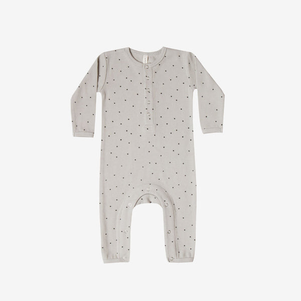 Organic Ribbed Jumpsuit - Dove Dot