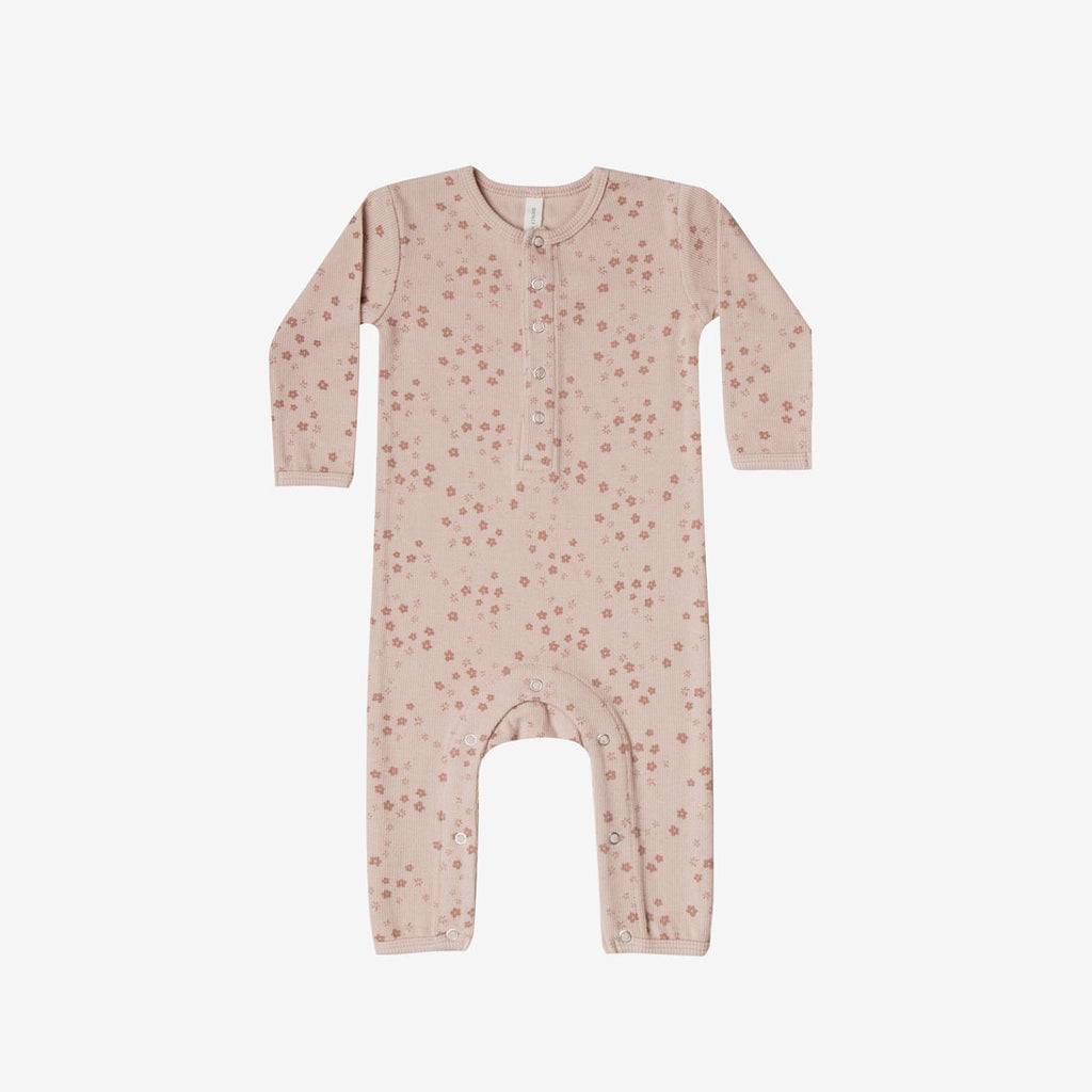 Organic Ribbed Jumpsuit - Rose Floral