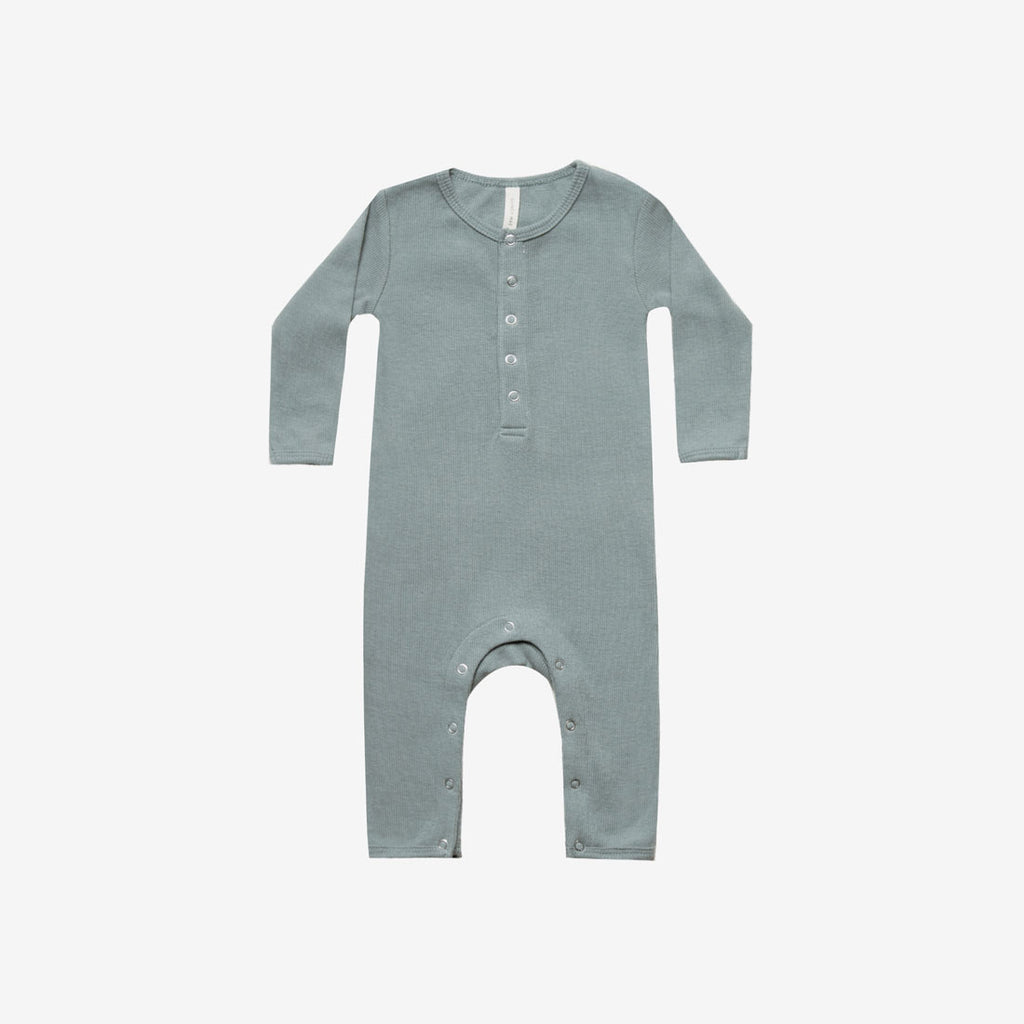 Organic Ribbed Jumpsuit - Sea