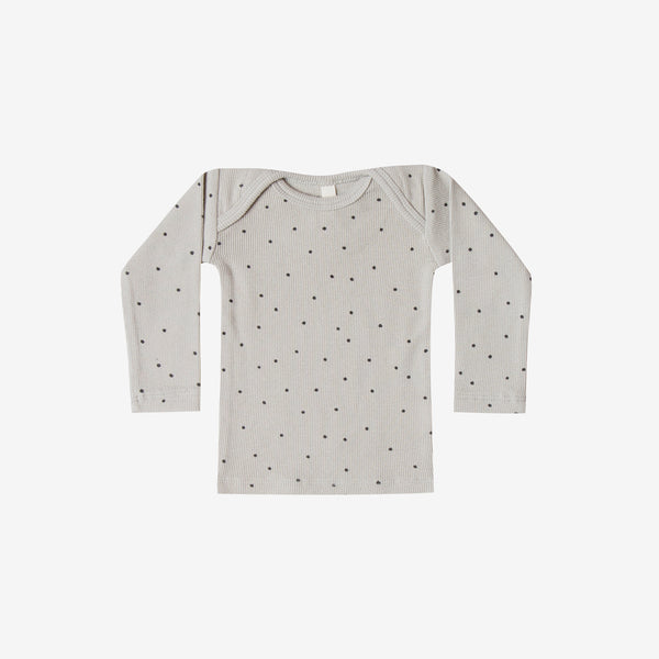Organic Ribbed L/S Lap Tee - Dove Dot