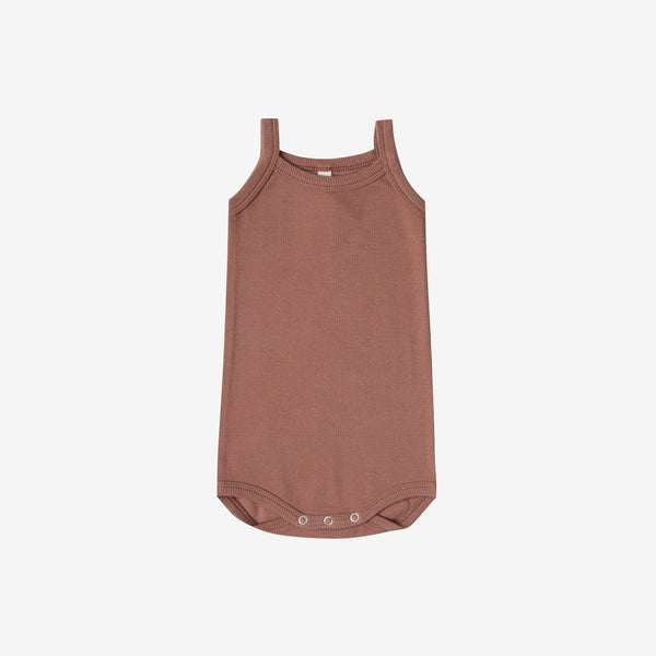 Organic Ribbed Tank Onesie - Clay