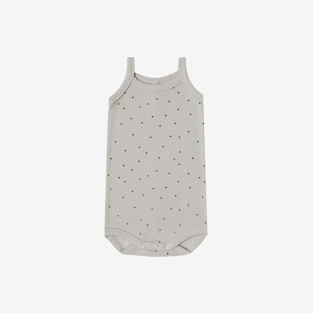 Organic Ribbed Tank Onesie - Dove Dot