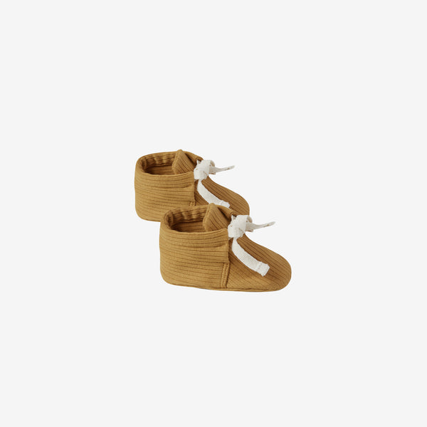 Organic Ribbed Baby Boots - Ochre