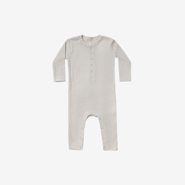 Organic Ribbed Baby Jumpsuit - Fog Stripe