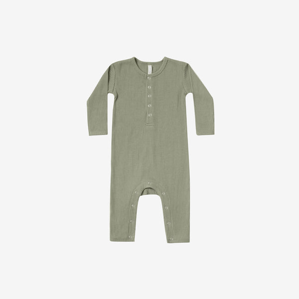 Organic Ribbed Baby Jumpsuit - Moss
