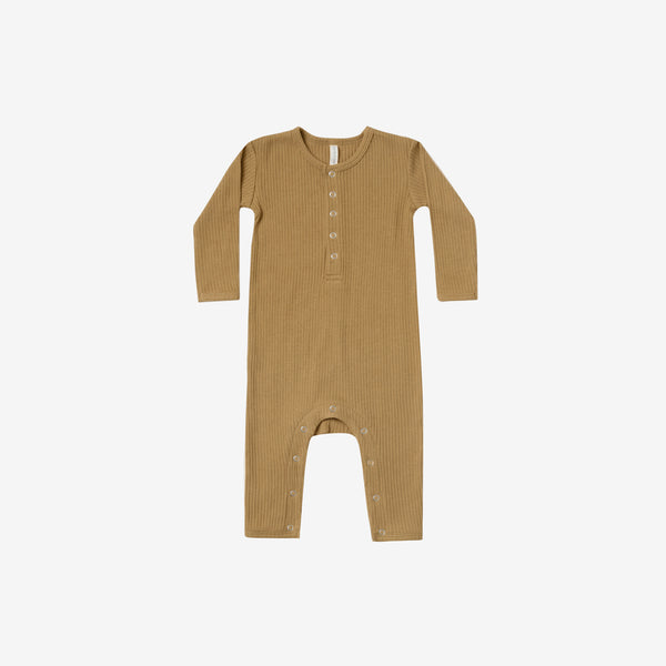 Organic Ribbed Baby Jumpsuit - Ochre