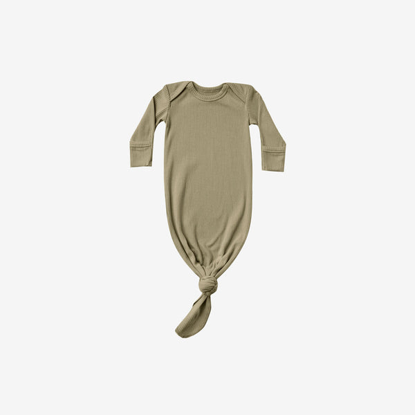 Organic Cotton Rib Knotted Baby Gown - Olive