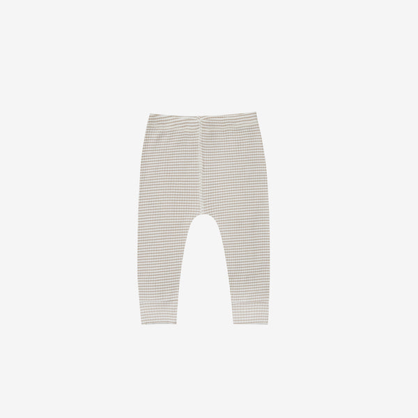 Organic Ribbed Leggings - Fog Stripe