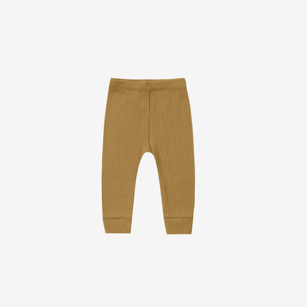 Organic Ribbed Leggings - Ochre