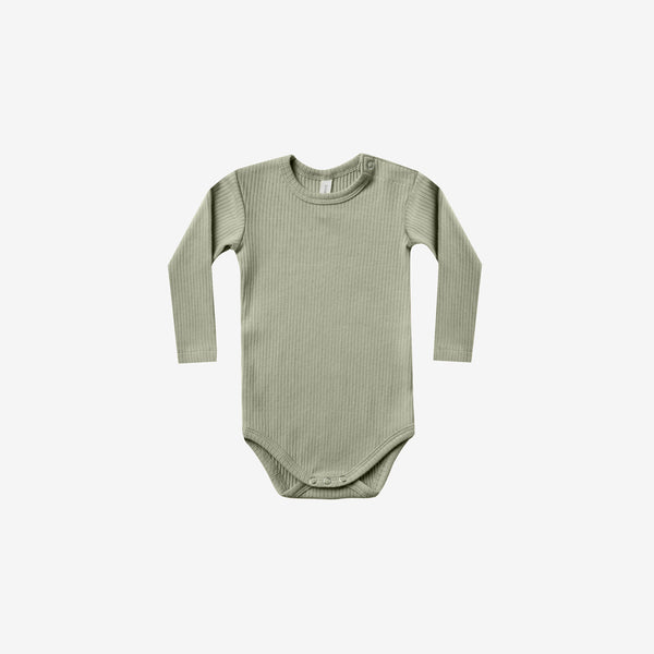 Organic Ribbed L/S Onesie - Moss