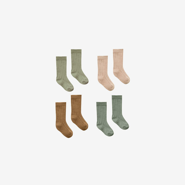 Organic Cotton Baby Socks 4-Pack - Olive/Petal/Eucalyptus/Walnut