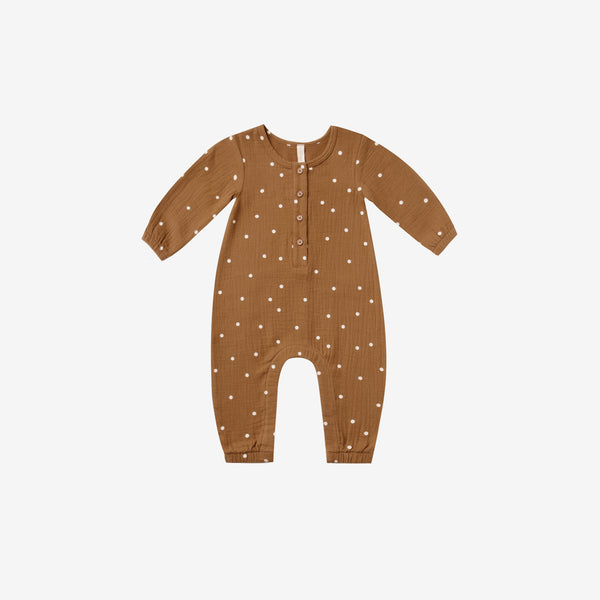 Organic Woven Double Gauze Jumpsuit - Walnut Dot