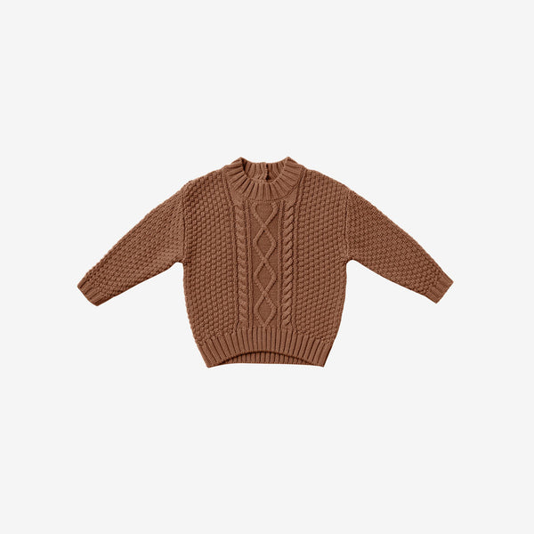 Organic Cotton Cable Knit Sweater - Clay