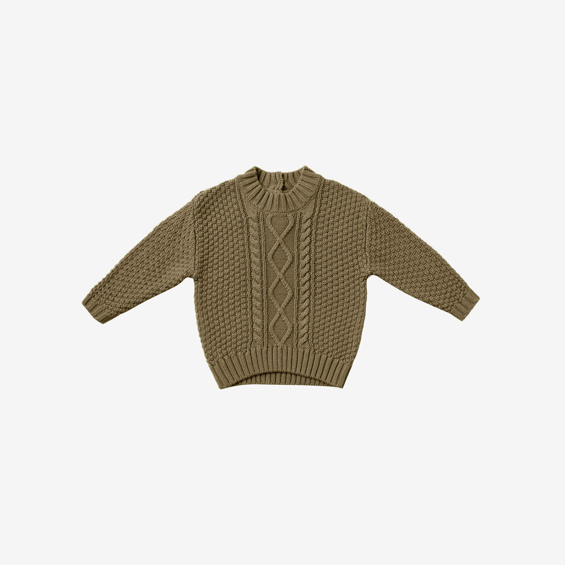 Organic Cotton Cable Knit Sweater - Olive