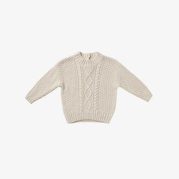 Organic Cotton Cable Knit Sweater - Pebble