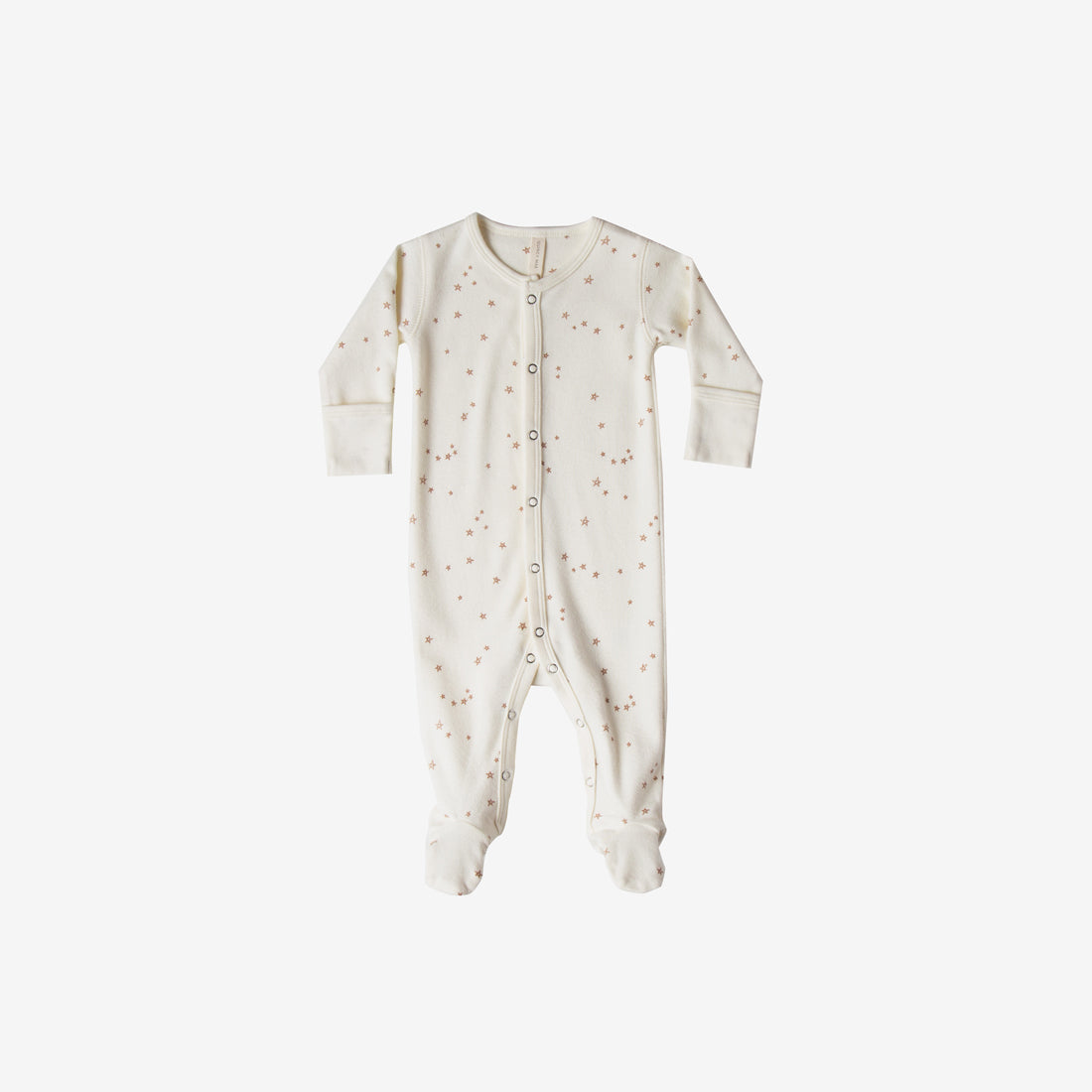 Organic Brushed Jersey Full Snap Footie - Ivory Star