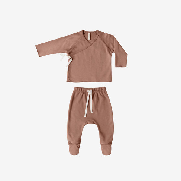 Organic Jersey Kimono Top + Footed Pant Set - Clay