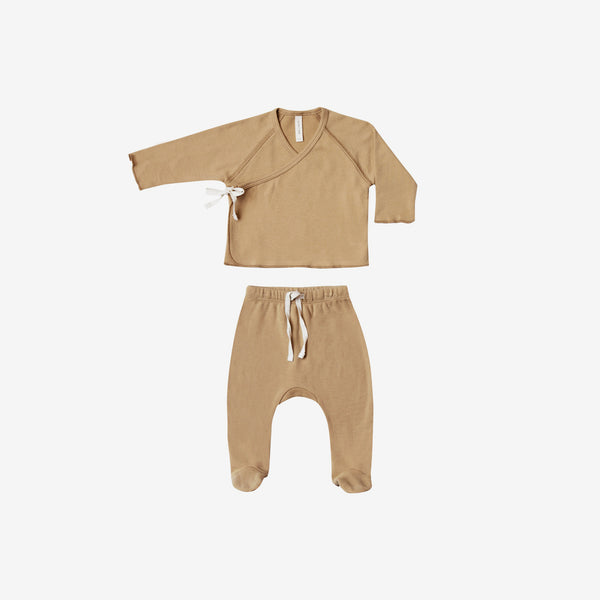 Organic Brushed Jersey Kimono Tee + Footed Pant Set - Honey