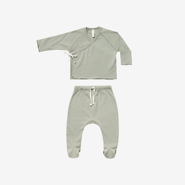 Organic Brushed Jersey Kimono Tee + Footed Pant Set - Sage