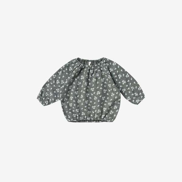 Organic Woven Double Gauze L/S Cinch Top - Eucalyptus Floral