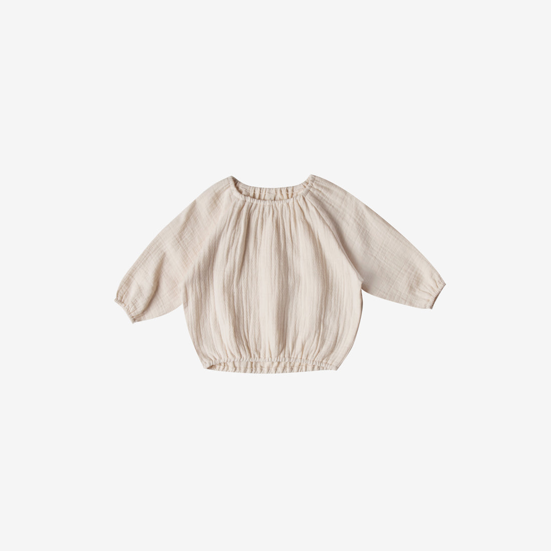 Organic Woven Double Gauze L/S Cinch Top - Pebble