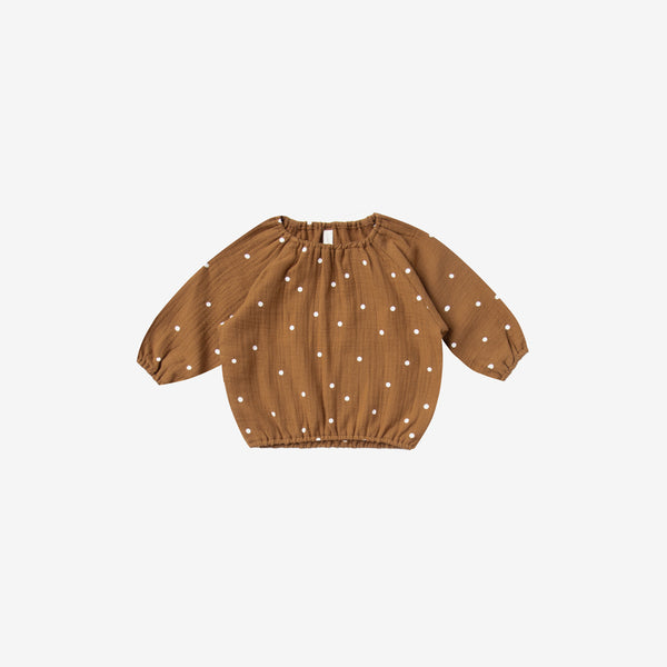 Organic Woven Double Gauze L/S Cinch Top - Walnut Dot