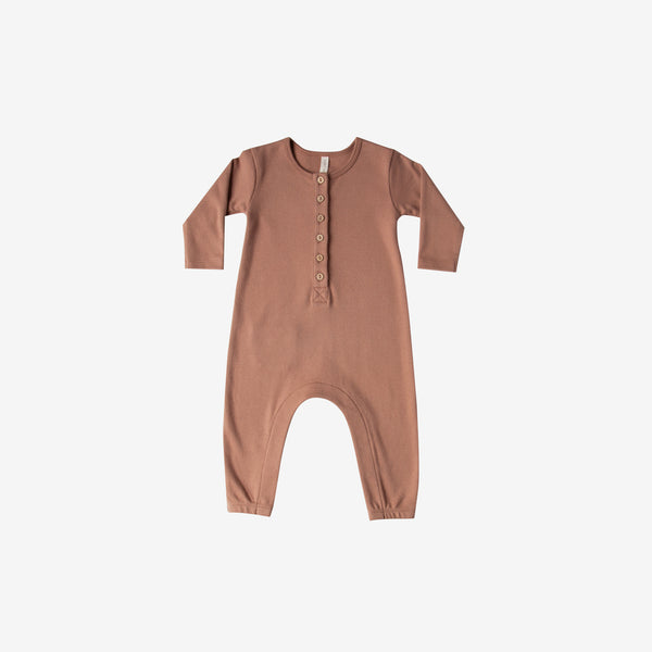 Organic Brushed Jersey L/S Jumpsuit - Clay