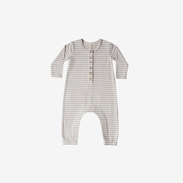Organic Brushed Jersey L/S Jumpsuit - Fog Stripe