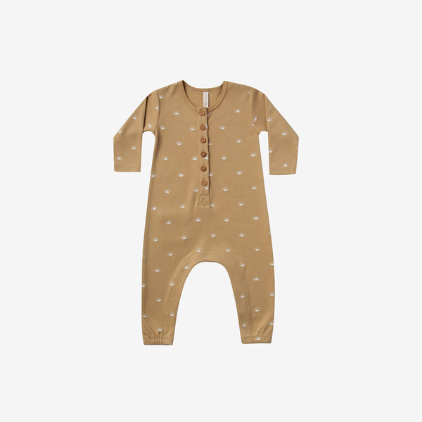 Organic Brushed Jersey L/S Jumpsuit - Honey Sunrise