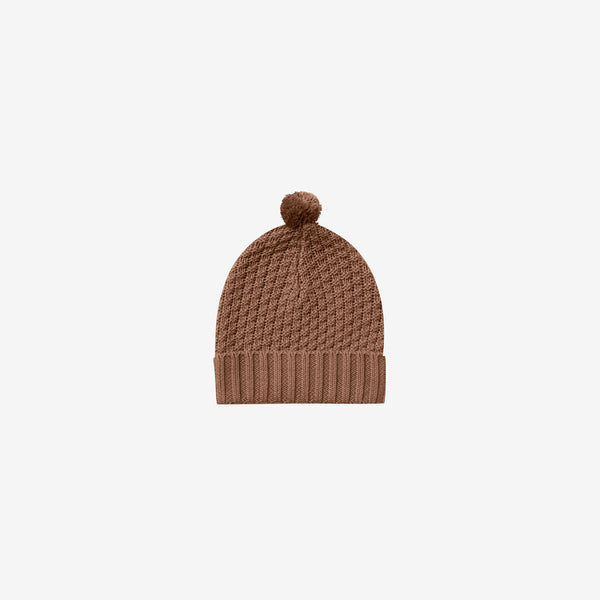 Organic Sweater Knit Pompom Beanie - Clay