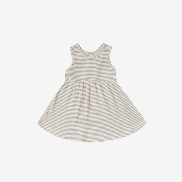 Organic Ribbed Tank Dress - Fog Stripe