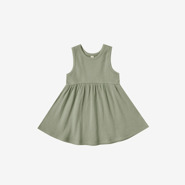 Organic Ribbed Tank Dress - Moss