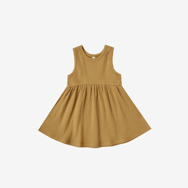 Organic Ribbed Tank Dress - Ochre