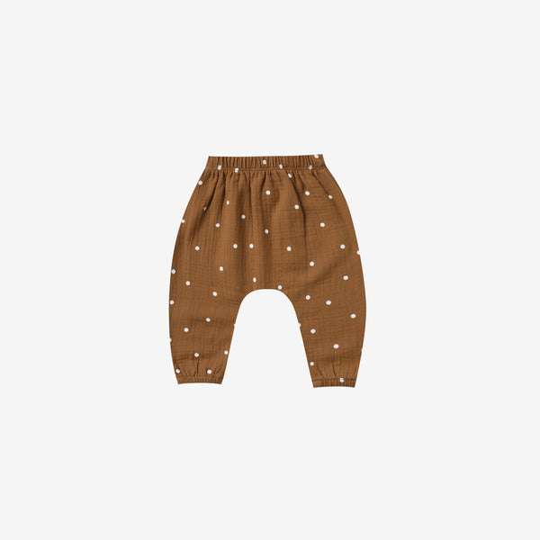 Organic Woven Double Gauze Harem Pant - Walnut Dot