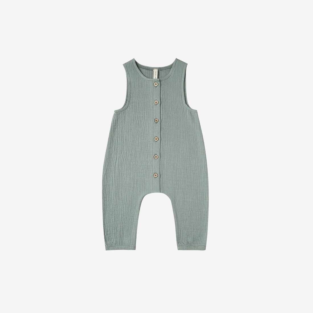 Organic Double Gauze Snap Tank Jumpsuit Overall - Ocean