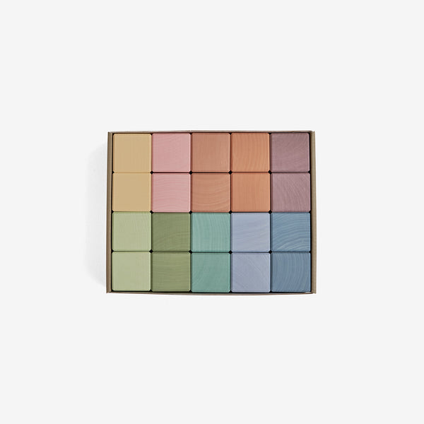Cube Blocks 20-piece Set - Earth Pastel