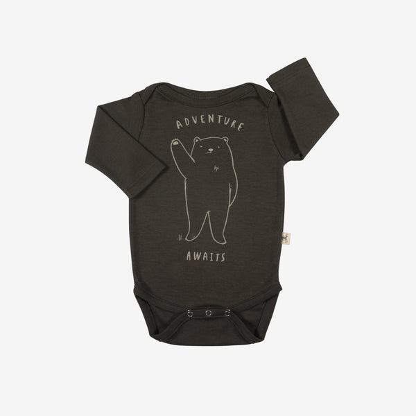 'Adventure Awaits' Bear L/S Pima Onesie