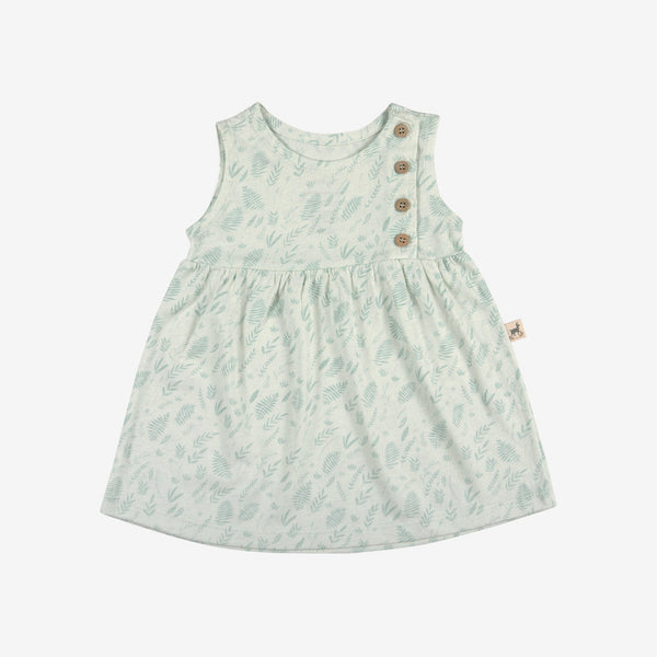 Foliage Buttoned Dress - seafoam